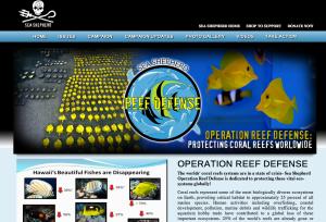 Screenshot of Operation Reef Defense Homepage (http://www.seashepherd.org/reef-defense)