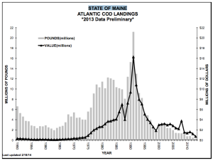 State of Maine Atlantic Cod Landings from 1950 to 2013 (Source: Dept. of Marine Resources, State of Maine)
