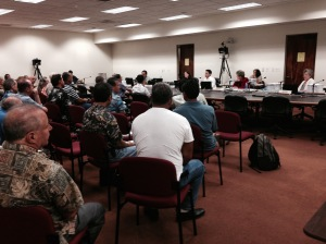 House Committee on Ocean, Marine Resources and Hawaiian Affairs mate yesterday for public hearings on five aquarium-fishery related bills. (Photo Bruce Carlson)