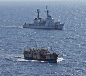 The crew of the Coast Guard Cutter Rush escorts the suspected high seas drift net fishing vessel Da Cheng in the North Pacific Ocean on August 14, 2012. Photo Credit: U.S. Coast Guard