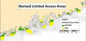 Closed areas and limited access areas have been important rebuilding tools fishery managers say are working in Maine's scallop fishery. [Source: DMR)