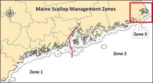 Recognizing the scallop resource and fishery vary coast wide, flexibility has been provided for different regions to use various measures to achieve the common goal of rebuilding the resource by establishing three different scallop management Zones. [Source: ME DMR]