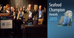 Seafood Champion finalists and winners raised their glasses as the audience toasted their achievements at a packed reception on the opening night of the Seafood Summit on February 9, 2015. [Source: www.seaweb.org]