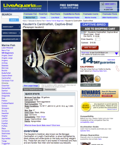 "PetCo/LiveAquaria already offer only aquacultured Banggai cardinalfish, advertising them as ""hardier than their wild harvested counterparts."""