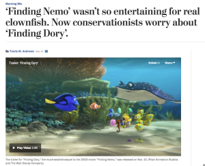 Scientists say Washington Post article on 'Finding Dory' should be hashtagged #FindingJournalism based on its poor reporting.
